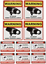 """Video Surveillance Camera Sticker Sign - 10 Pack Decal - Home Business Alarm System Stickers - (4)5½"""" x 5½"""" & (6)3"""" x 4"""" -..."""