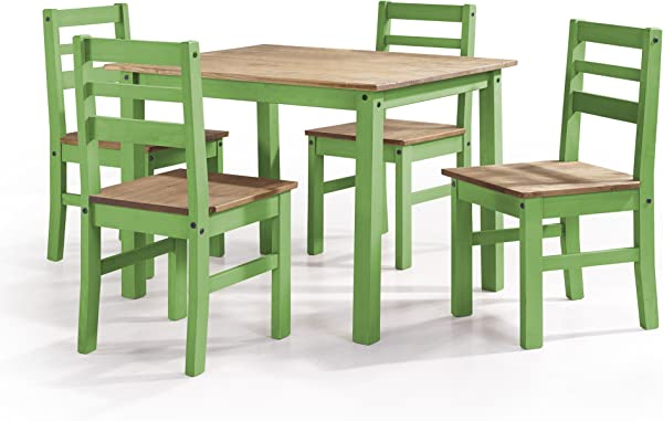 Manhattan Comfort Maiden Collection Reclaimed Traditional Modern 5 Piece Pine Wood Dining Set 4 Chairs And 1 Table Wood Green