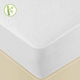 LUTE Protège Matelas 140x190/200 cm Imperméable, Tissu 3D en Fibre de Bambou, Alèse Respirante, Ultra Doux et Silencieux, ...