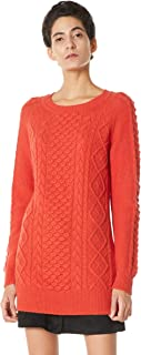 Peplum Pointe Women's Winter Cable Knit Casual Crew Neck Long Sweater Wool Blend Pullover