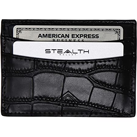 STEALTH Wallet RFID Card Holder - Slim Minimalist Genuine Leather Crocodile Style Bank & Credit Cards Holders - Premium Wallets with Contactless Cards Protection Security and Gift Box (Black)