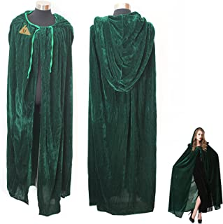 IDS Home Green Witch Cosplay Cloak Masquerade Hooded Cape Halloween Party Dress Costumes