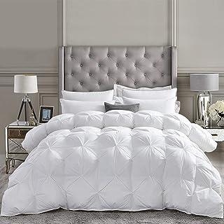 Luxurious All-Season Goose Down Comforter Queen Size Duvet Insert, Exquisite Pinch Pleat Design, Premium Baffle Box, 1200 ...