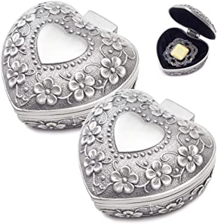 lfhSA 2 Pcs Vintage Heart Box, Zinc Alloy Rose Flower Carving Antique Jewelry Box, for Small Trinket Storage, Valentine & ...