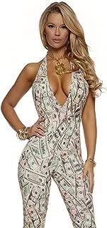 Women's Money Print Jumpsuit with Adjustable Halter Neck Tie