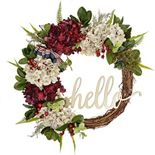 FAVOWREATH 2018 Vitality Series FAVO-W125 Handmade 17 inch Hello Letter,Hydrangea,Multi Flowers,Berry,Leaf Grapevine Wreath Summer/Fall Front Door/Wall/Fireplace Floral Hanger Home Every Day Decor