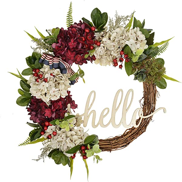 FAVOWREATH 2018 Vitality Series FAVO W125 Handmade 17 Inch Hello Letter Hydrangea Multi Flowers Berry Leaf Grapevine Wreath Summer Fall Front Door Wall Fireplace Floral Hanger Home Every Day Decor