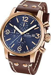 TW Steel Maverick Stainless Steel Quartz Watch with Leather Calfskin Strap, Brown, 24 (Model: MS84)