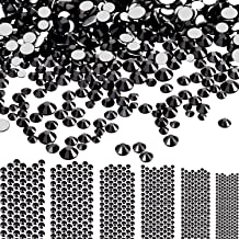 Bememo 3456 Pieces Nail Crystals AB Nail Art Rhinestones Round Beads Flatback Glass Charms Gems Stones, 6 Sizes for Nails Decoration Makeup Clothes Shoes (Black, Mixed SS4 5 6 8 10 12)