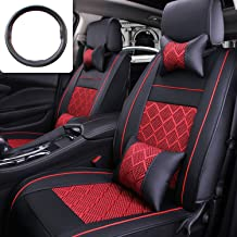 Fly5D 10Pcs PU Leather Ice Silk Black/Red for for Universal 5 Seat Car Four Season
