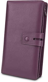 YALUXE Women's RFID Blocking Leather Large Capacity Wallet with Removable Checkbook Holder Light Purple