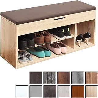 RICOO WM034-ES-B, Banco Zapatero, 104x49x30cm, Armario Interior con Asiento, Organizador Zapatos, Mueble recibidor, Perchero, Madera Roble marrón