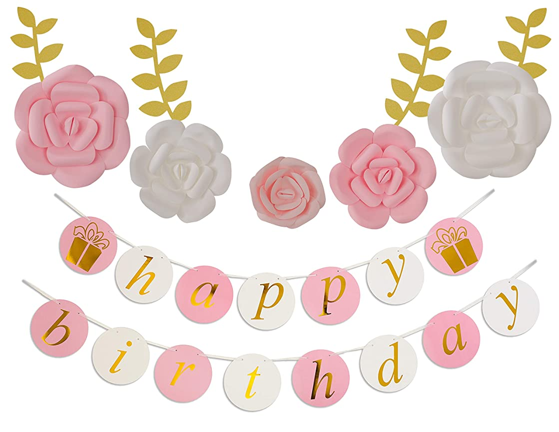 KEIRA PRINCE CRAFTS Paper Flowers Decorations & Happy Birthday Banner (Pink White, Set of 5) Large, Med, Sml Flowers Centerpieces, Birthday Backdrop, Nursery Wall Decor, Photobooth (NO DIY)