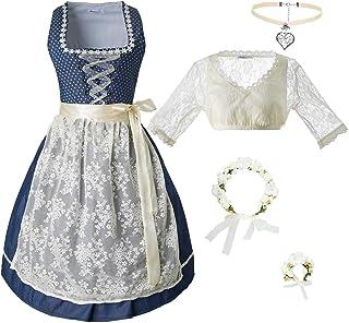 dressforfun dressforfun 950021 Damen Trachtenset, 5-teilig, Beige Blaues Dirndl  beige Trachtenbluse mit Halskette, Armschmuck und Blumenkranz - Diverse Größen
