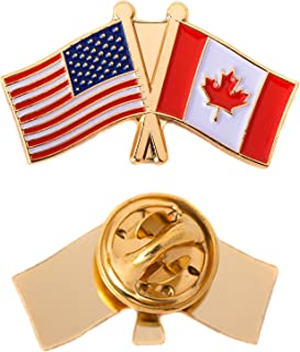 Canada Canadian Country Double Flag Lapel Pin Enamel with United States USA US Souvenir Hat Men Women Patriotic (Double Flag Pin)