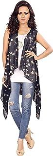 Serein Women's Shrug (Black Floral Print Georgette Sleeveless Shrug/Jacket)