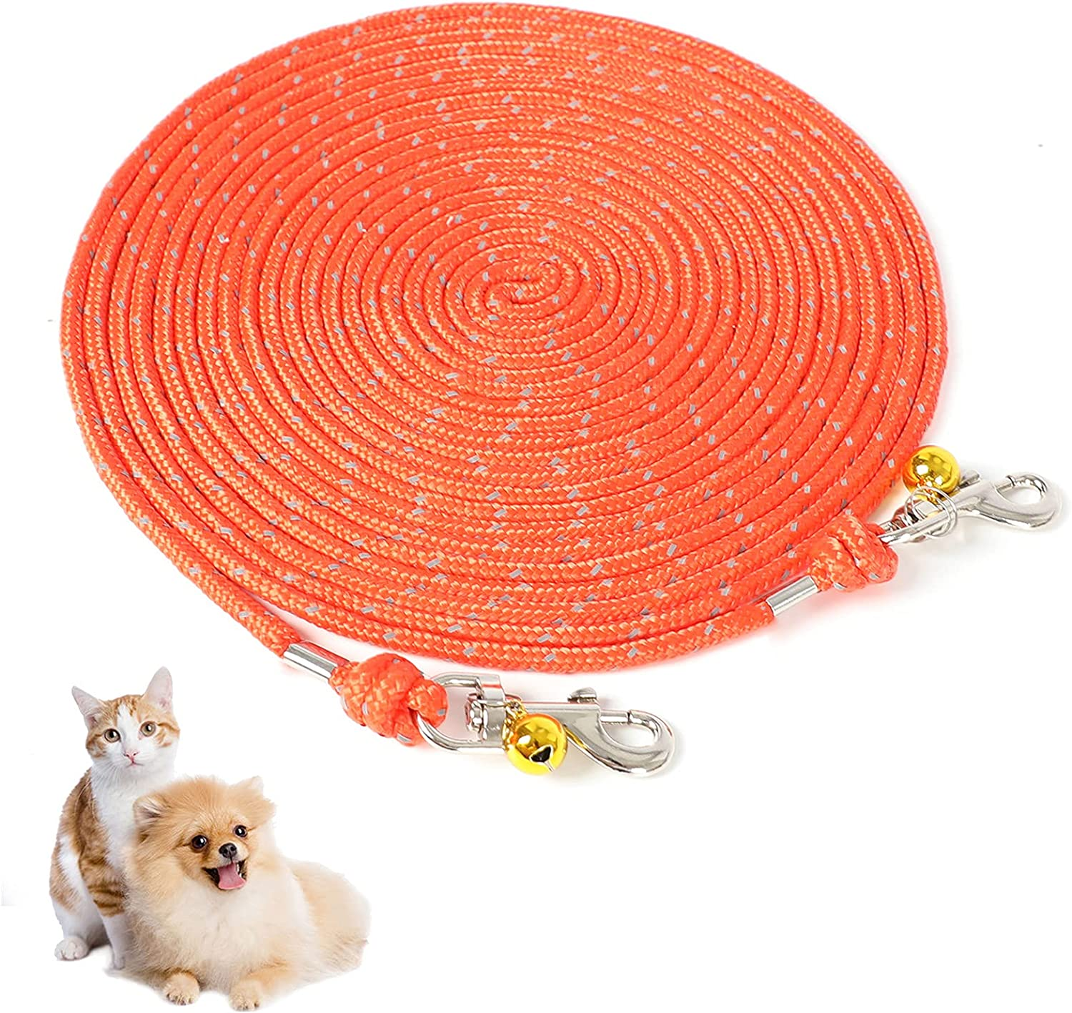 Cat Cable Out Leash 26-feet Escape Proof Walking Leads Long Durable Reflective Extender Training Control Play Yard Backyard Outdoor for Puppy, Kitten, Rabbits and Small Animals, Orange : Pet Supplies