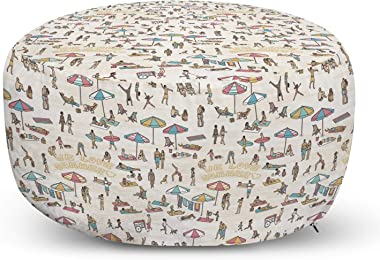 Lunarable Holiday Pouf Cover with Zipper, We Love Summer Theme on Sandy Beach Diverse Crowd Sunbathing Travel Design, Soft De