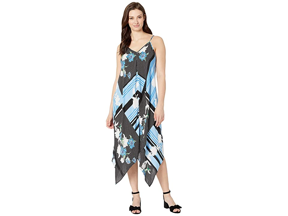 eci Floral Stripe Patchwork Print Hanky Hem Dress (Black/Blue) Women