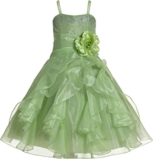 ekidsbridal Shimmering Organza Rhinestones Junior Flower Girl Dress Holy Communion J120NF