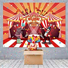 Circus Theme Party Banner Supplies Carnival Red Photography Background Circus Theme Birthday Party Photo Shoot Backdrop for Large Party Decoration