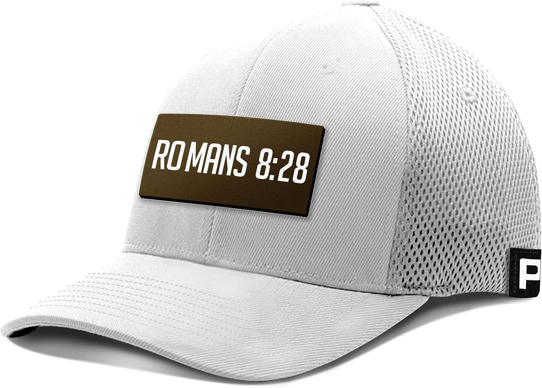 Printed Kicks Romans 8:28 Leather Patch Flex Fit Hat Christian Bible Verse Baseball Cap