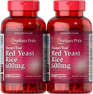 Puritan's Pride Red Yeast Rice 600 Mg, 480 Total Count (2 Packs of 240 Count Capsules), by Puritan's Pride, 480 Count