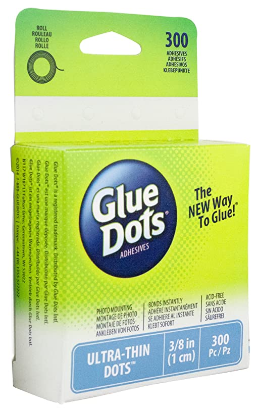 Glue Dots Ultra Thin Roll, Contains 300 (.375 Inch) Adhesive Dots (05029)