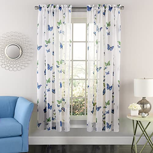 Sweet Home Collection Decorative Kitchen Window Curtain Treatment Panel Blue
