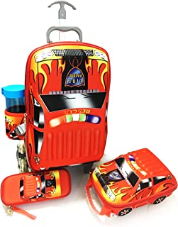 KID'S 3D Fire patrol School Trolley Bag for Kids, Set of 4 - red