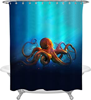 MitoVilla Ocean Life Orange Octopus Shower Curtain, Vintage Style Aquatic Animal on Blue Background Kraken Tentacle Bathroom Accessories, Creative Gifts for Children Kids, 72 x 78 inches for Bath Tub