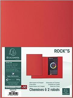 Exacompta - Réf. 216012E - Paquet de 50 chemises 2 rabats ROCK''S 210 - format 24x32cm - couleur Rouge