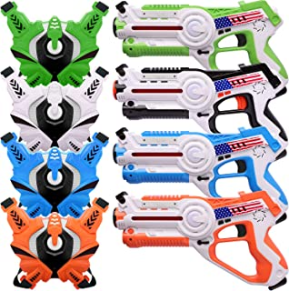 Veken Toy Guns Set with Vests for Kids and Adults - Set of 4 Players