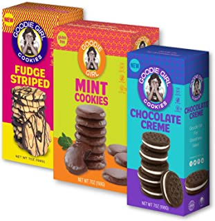 Goodie Girl Cookies, Gluten Free Cookies Mint Cookies, Chocolate Creme & Fudge Striped Variety Pack, Peanut Free Cookies (3 Pack)
