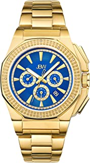 JBW Knox Men's 12 Diamonds Blue Dial Gold Plated Stainless Steel Band Watch - J6329D