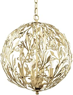 12.8 Inch Orb Chandelier 4 Arms Chrome Finish Globe Frame mini cascade crystal pendant Dining Room Hallway Entry Deluxe lamp
