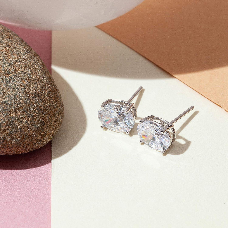 14K Gold Plated Sterling Silver Cubic Zirconia Stud Earrings for Women