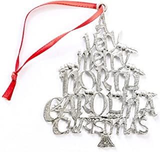 USA Handcrafted North Carolina NC Christmas Ornament Holiday Keepsake Pewter