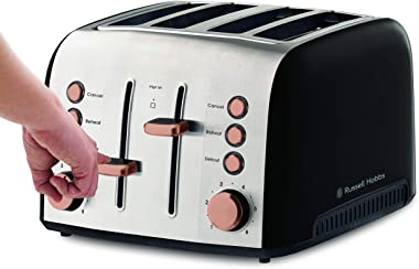 Russell Hobbs RHT94COP, Brooklyn Toaster 4 Slice, Extra Wide Toasting Slots, High-Lift, Copper