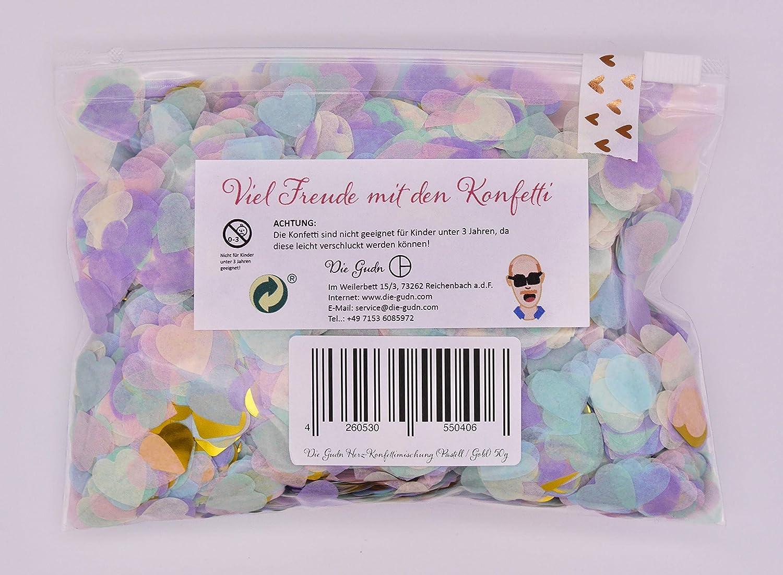 confeti de mesa confeti de corazones fiestas de cumplea/ños confeti de papel baby shower oro pastel, 50 gramos Die Gudn Confeti de corazones decoraci/ón para bodas confeti multicolor