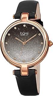 Burgi Womens Quartz Watch, Analog Display and Leather Strap BUR225BK