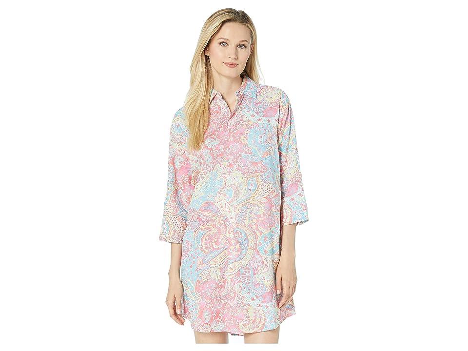 LAUREN Ralph Lauren 3/4 Sleeve His Sleepshirt (Pink Paisley Print) Women
