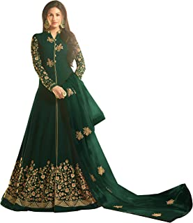 Niza Fashion Women's Faux Georgette Embroidered Semi-Stitched Long Anarkali Suit (Green, Free Size)