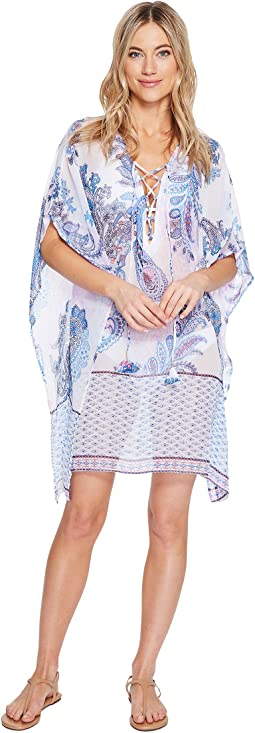 Paisley Leaves Lace-Up Tunic Cover-Up