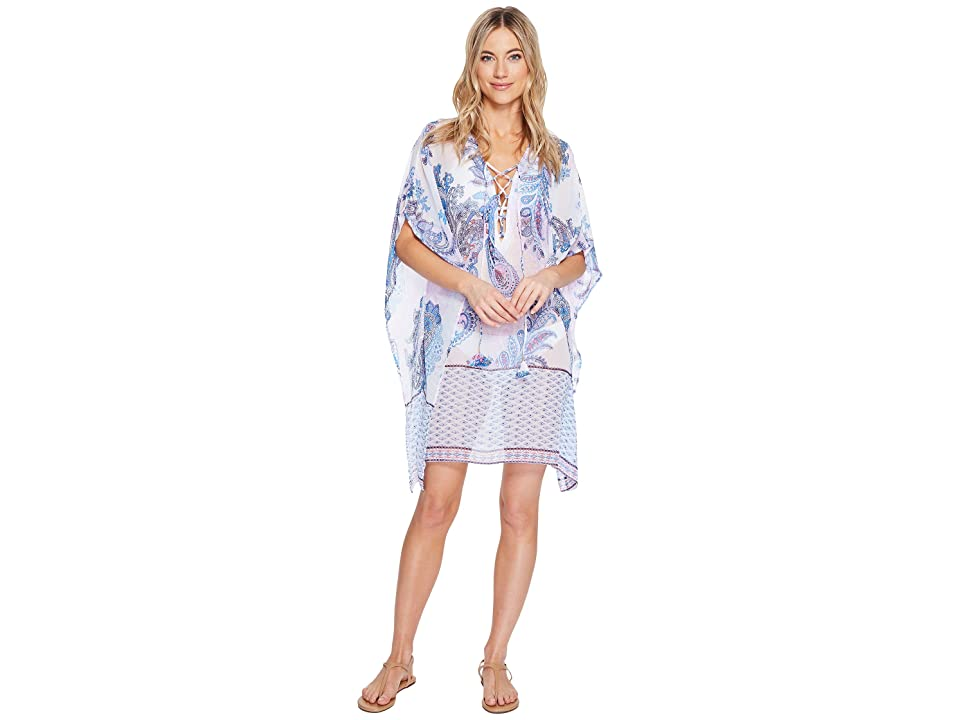 Tommy Bahama Paisley Leaves Lace-Up Tunic Cover-Up (White) Women