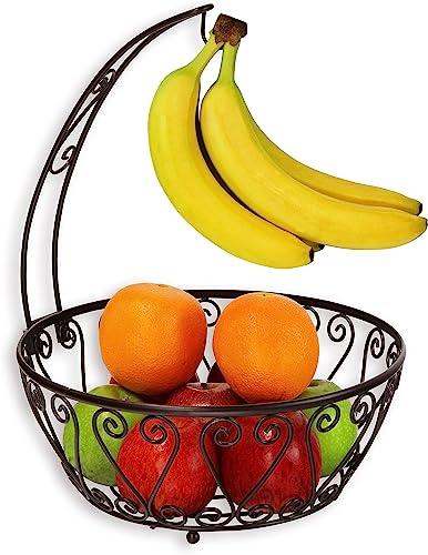 wholesale SimpleHouseware sale Fruit Basket outlet sale Bowl with Banana Tree Hanger, Bronze outlet sale