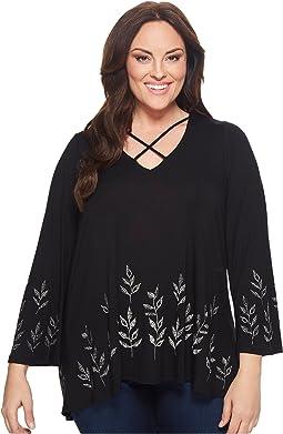 Plus Size Crisscross Leaf Top