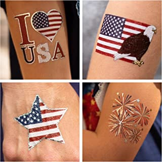 24 Patriotic Temporary Tattoos | 4th of July Party Supplies | USA Party Favors and Fourth of July Party Decorations | Metallic American Flag Red White and Blue Fake Tattoos for The Whole Family