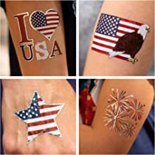 John & Judy 24 Patriotic Temporary Tattoos | 4th of July Party Supplies | USA Party Favors and Fourth of July Party Decora...