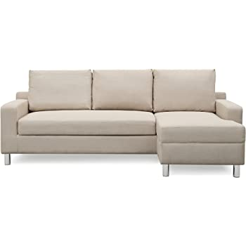"""Amazon.com: Container Furniture Direct Amelie Linen Upholstered Contemporary Modern Right-Sided Sectional Sofa With Bed, 83.9"""", Beige: Furniture & Decor"""